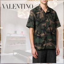 VALENTINO Camouflage Street Style Cotton Short Sleeves Front Button