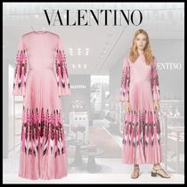 VALENTINO Silk Long Sleeves Long Party Style Elegant Style Bridal