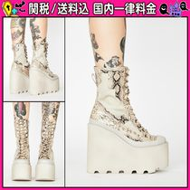 DOLLS KILL Platform Lace-up Casual Style Faux Fur Python Lace-up Boots