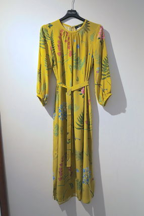 Flower Patterns Silk Long Dresses