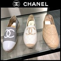 CHANEL ICON Stripes Plain Toe Casual Style Tweed Plain Office Style