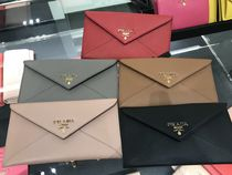 PRADA Plain Leather Handmade Long Wallets