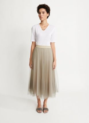 Casual Style Pleated Skirts Medium Office Style