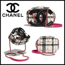 CHANEL Tartan Casual Style Chain Elegant Style Crossbody Camera Bag
