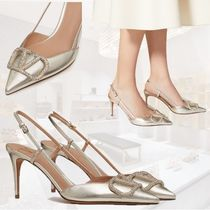 VALENTINO VLOGO Plain Leather Pin Heels Party Style With Jewels