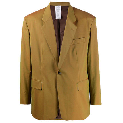 Short Wool Nylon Blended Fabrics Plain Coats