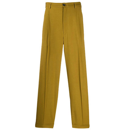 Wool Blended Fabrics Plain Pants