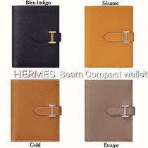 HERMES Bearn Unisex Calfskin Plain Folding Wallet Bridal Folding Wallets