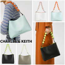 Charles&Keith Casual Style Faux Fur Blended Fabrics 2WAY Chain Plain