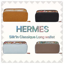 HERMES Silk In Unisex Calfskin Plain Long Wallet  Bridal Long Wallets