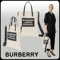 Burberry Unisex Calfskin Canvas Studded 2WAY Crossbody Logo Totes