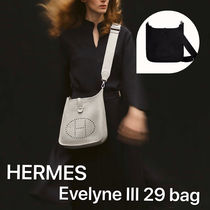 HERMES Evelyne Unisex Plain Leather Bridal Logo Messenger & Shoulder Bags