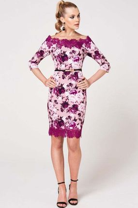 Flower Patterns Tight Cropped Medium Lace Dresses