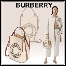 Burberry Calfskin Canvas Studded 2WAY Crossbody Logo Shoulder Bags