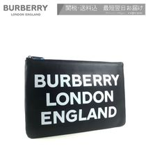 Burberry Unisex Street Style Plain Leather Logo Clutches