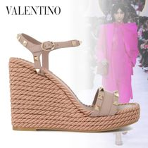 VALENTINO Open Toe Platform Leather Logo Platform & Wedge Sandals