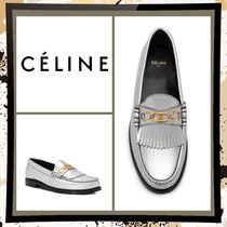 CELINE Round Toe Casual Style Plain Leather Office Style