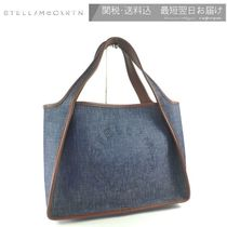 Stella McCartney STELLA LOGO Casual Style Denim Faux Fur Blended Fabrics A4 Logo Totes
