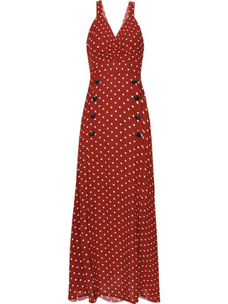 Dots Casual Style A-line Sleeveless Flared Street Style