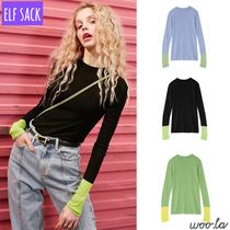 ELF SACK Casual Style Street Style Long Sleeves Plain Medium