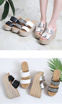 Other Plaid Patterns Open Toe Platform Casual Style Enamel