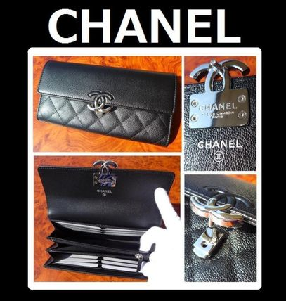 CHANEL ICON Unisex Leather Folding Wallet Long Wallets