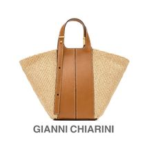 GIANNI CHIARINI 2WAY Leather Logo Straw Bags