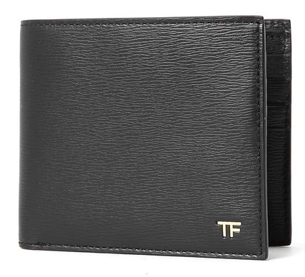 Calfskin Plain Leather Folding Wallet Logo Folding Wallets