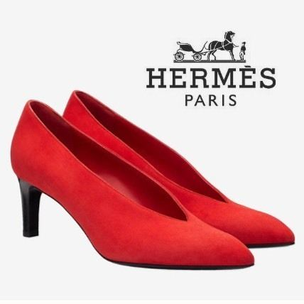 HERMES Suede Plain Pin Heels Party Style Elegant Style