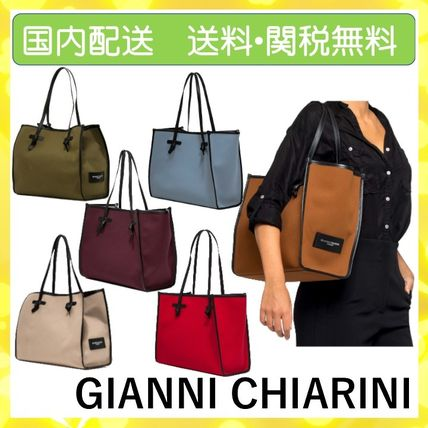 Casual Style Canvas A4 Plain Leather Logo Totes