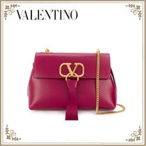 VALENTINO Plain Leather Crossbody Logo Shoulder Bags