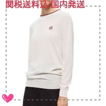 LOEWE Crew Neck Casual Style Cashmere Bi-color Long Sleeves Plain