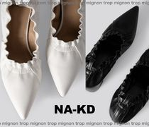 NA-KD Casual Style Faux Fur Plain Block Heels Party Style