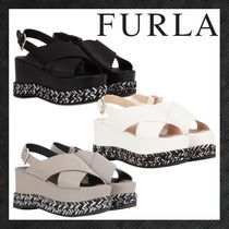 FURLA RIALTO Open Toe Platform Casual Style Plain Leather Party Style