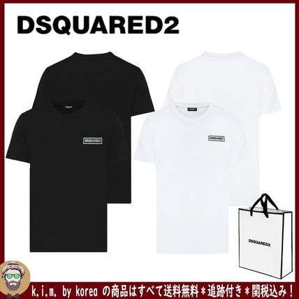 D SQUARED2 Crew Neck Crew Neck Unisex Street Style Plain Cotton Short Sleeves