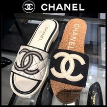 CHANEL ICON Open Toe Platform Casual Style Tweed Plain Sport Sandals