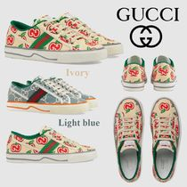 GUCCI Stripes Round Toe Rubber Sole Lace-up Casual Style Logo