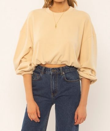 Casual Style Long Sleeves V-neck & Crew neck