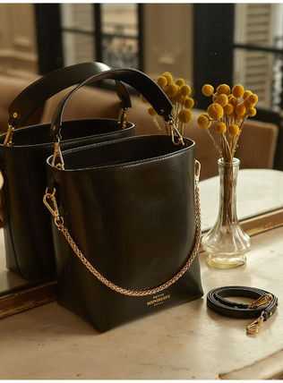 3WAY Chain Plain Leather Crossbody Logo Handbags