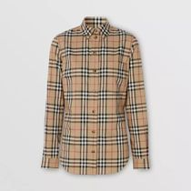 Burberry Other Plaid Patterns Long Sleeves Cotton Shirts & Blouses