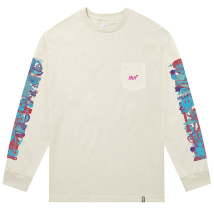 HUF Long Sleeve Unisex Street Style Long Sleeves Plain Cotton 3