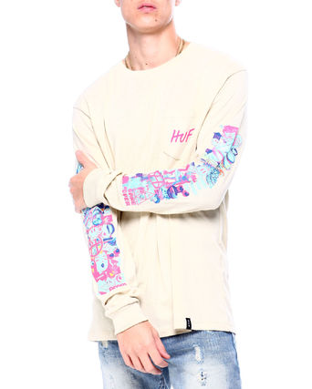 HUF Long Sleeve Unisex Street Style Long Sleeves Plain Cotton 6