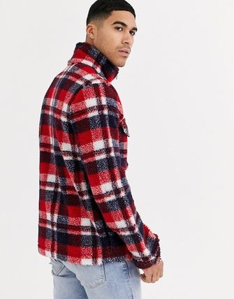 Short Other Plaid Patterns Street Style Shearling Jackets