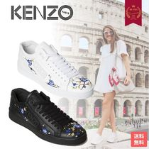 KENZO Flower Patterns Casual Style Leather Logo Low-Top Sneakers
