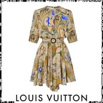 Louis Vuitton Short Flower Patterns Casual Style Silk Flared Cropped