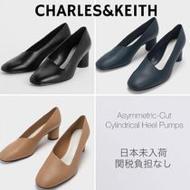 Charles&Keith Casual Style Faux Fur Plain Block Heels Office Style