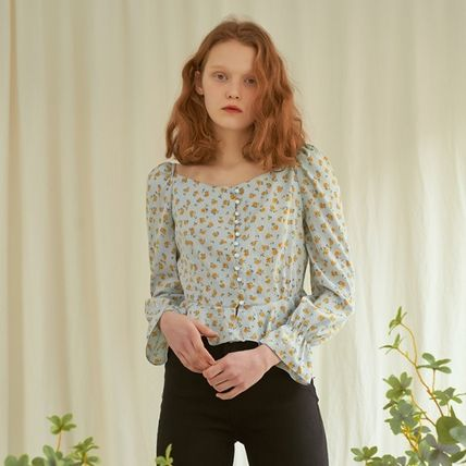 Short Flower Patterns Casual Style Cropped Long Sleeves