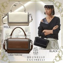 BRUNELLO CUCINELLI 2WAY Plain Leather Party Style Elegant Style Formal Style
