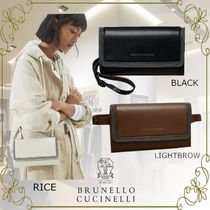 BRUNELLO CUCINELLI 2WAY Plain Leather Party Style Office Style Elegant Style