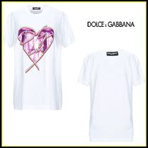 Dolce & Gabbana Heart Plain Cotton Short Sleeves Logo T-Shirts